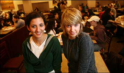 Boston University students Carolina Aparicio (left) and Chloe Nolan both have boyfriends, a rarity in the age of hooking up.
