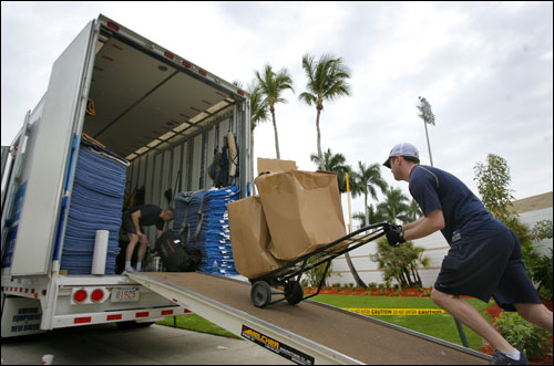 The Red Sox equipment truck that departed Fenway Park for Fort Myers on Monday arrived at the Sox spring training complex on Thursday after its nearly 1,500-mile trek.