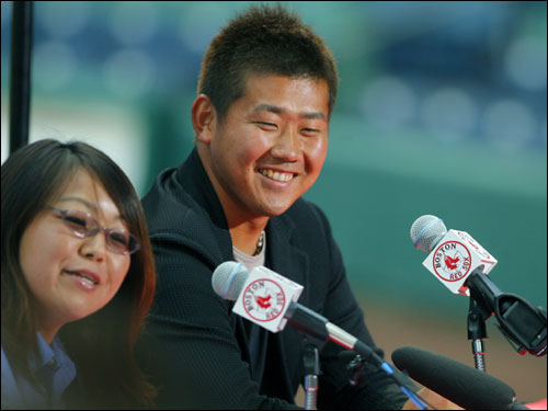 Matsuzaka, alongside translator Sachiyo Sekiguchi, held a press conference late this afternoon at City of Palms Park.