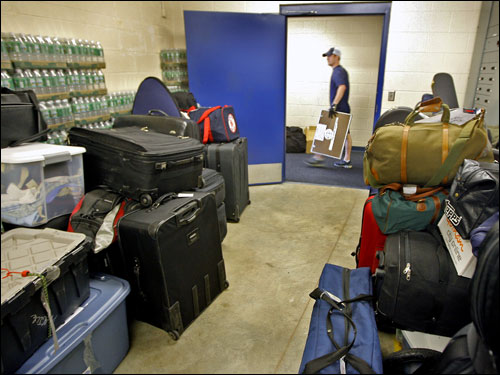 Some of the equipment was stored in a room in the team clubhouse at City of Palms Park.