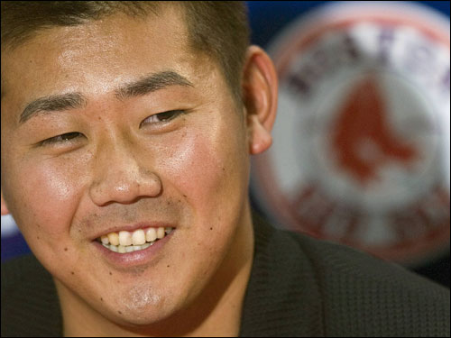 Matsuzaka was all smiles during the press conference.