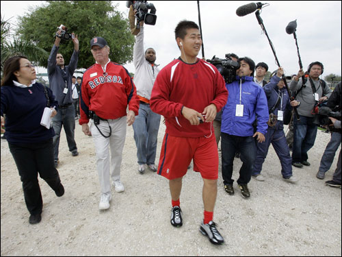 The media caught up with Matsuzaka eventually.