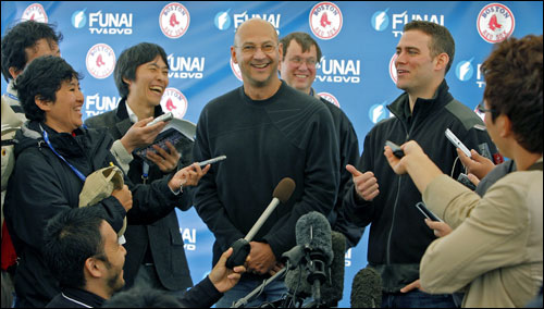 After they had spent some time taking questions from the American media, Red Sox manager Terry Francona and GM Theo Epstein did something they haven't had to do in past years, they walked over to the 'Funai Media Tent' and took questions from the Japanese media, and in the process they brought smiles to their faces as they joked around with them.