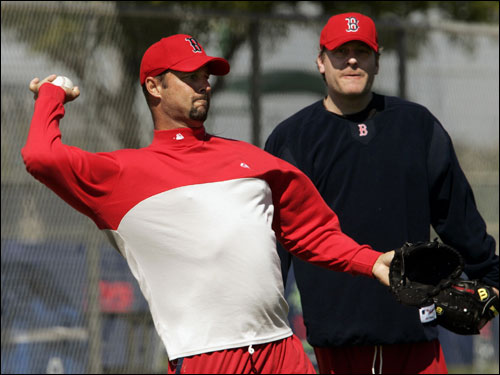 Red Sox pitchers Tim Wakefield (left) and Curt Schilling worked out in Fort Myers Saturday.