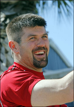 Jason Varitek spoke with the media Saturday and was all smiles.