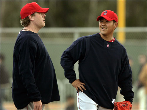 Curt Schilling (left) and Daisuke Matsuzaka shared a laugh.