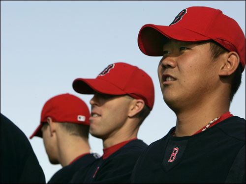 Pitchers Kyle Jackson (left), Bryan Corey, and Daisuke Matsuzaka took the field.