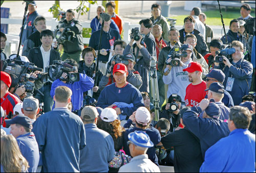 Matsuzaka was joined in the crowd by catcher Jason Varitek.