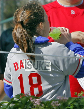 A fan had no problem converting her Johnny Damon jersey to a Matsuzaka jersey.