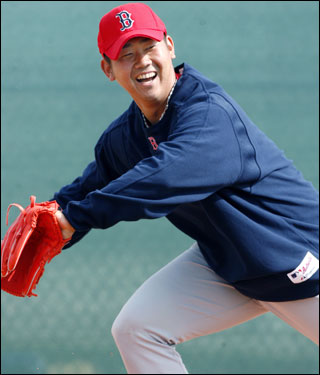 Matsuzaka smiled while fielding ground balls.