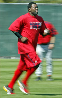 David Ortiz made his first appearance on a field Wednesday. Here, he is shown during the position players conditioning workout this afternoon.