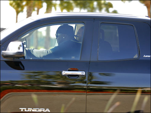 David Ortiz peeled out of the parking lot at the player development complex Wednesday afternoon behind the wheel of a truck that he said Red Sox owner John Henry gave him today as a gift.