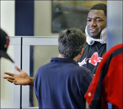 David Ortiz was just outside the room talking to Sox chairman Tom Werner.