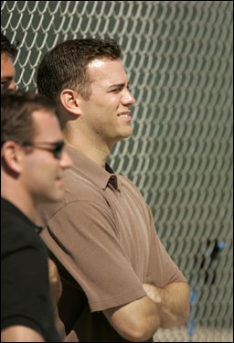 Red Sox general manager Theo Epstein was on hand to watch his pitchers.