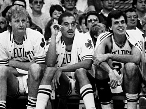 Celtics 1985-86 championship starters (from left) Larry Bird, Johnson, and Kevin McHale at the Boston Garden.
