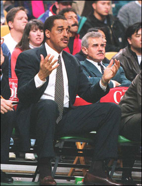 In this Feb. 1996 photo, Johnson, then a Celtics assistant coach, was on the bench as the C's took on the Spurs.