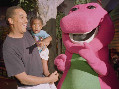 Johnson took his 3-year-old daughter Donna to see Universal Studios Florida's attraction 'A Day in the Park with Barney' in July 1995.