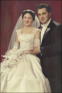 Peter Limone and his wife Olympia, nicknamed Olly, on their wedding day Oct. 27, 1957.