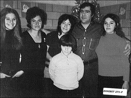 Salvati's family visited him in Walpole State Prison in 1972 for Christmas. From left to right, Sharon, Marie, Gail, Anthony (in front), Joe and Maria.