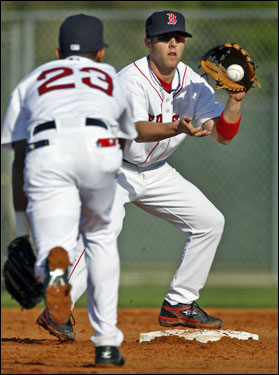 Dustin Pedroia (right) and Julio Lugo worked on the double play.