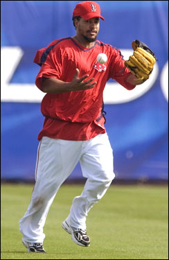 Manny Ramirez juggled a ball during a pregame workout.