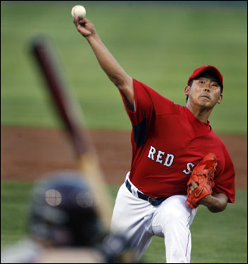 Red Sox pitcher Daisuke Matsuzaka fired a pitch during Friday's game vs. Boston College.