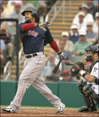 Manny Ramirez struck out in the fourth inning.