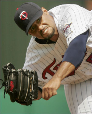 Twins ace Johan Santana started against the Red Sox in Sunday's game at Hammond Stadium in Fort Myers.