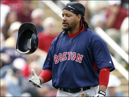 Manny Ramirez walked back to the dugout after striking out with the bases loaded.
