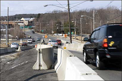Congestion has been frequent at Exit 27 (Winter Street) off Route 128 in Waltham. It was among 10 local road and bridge projects postponed last year because of a shortfall in funding.