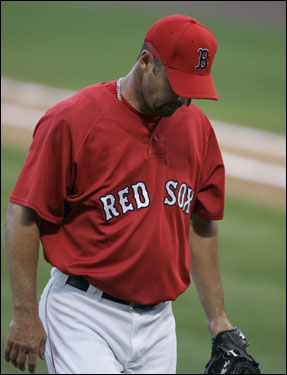 Tim Wakefield walked off the mound after the first inning.