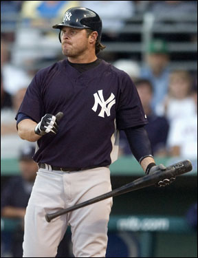 Jason Giambi reacted to a foul ball before hitting a single in the first inning.