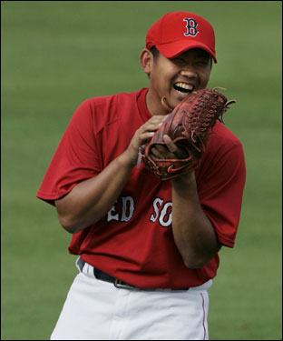 Daisuke Matsuzaka laughed during warm ups.