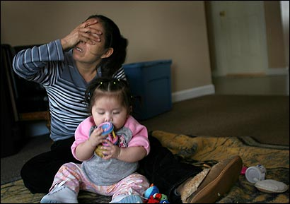 Barthila Solano (shown with her baby) and her husband were separated in the recent New Bedford immigration raid.