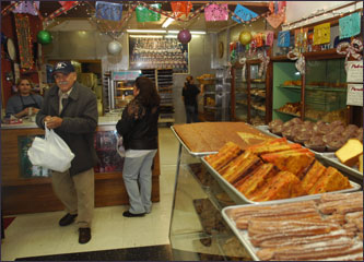 Delicacies line the shelves at Panaderia Nuevo Leon, a bakery in Chicago's Pilsen neighborhood.