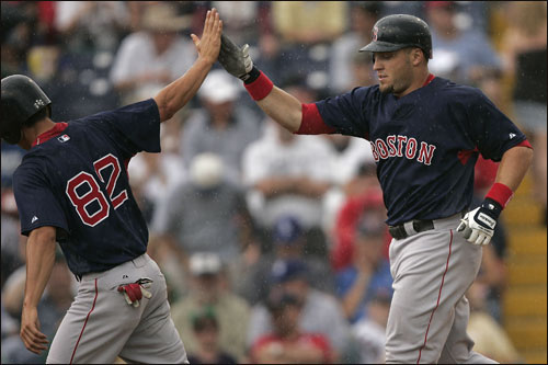 Eric Hinske (right) was greeted at home plate by Jacoby Ellsbury.