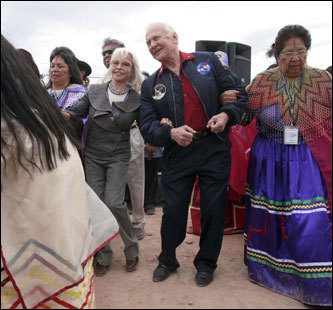 Astronaut Buzz Aldrin, the second man to walk on the moon, and his wife, Lois, took part in a ceremonial dance with members of the Hualapai Indian tribe. Aldrin took the ceremonial first step onto the glass-bottomed walkway that backers hope will lure tourists to the remote west rim.