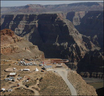 The Skywalk hangs over the Grand Canyon on the Hualapai Indian Reservation.