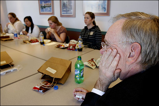 During Brown's 18 months as president, the university has created a blog to solicit feedback about its future, mailed surveys to 258,000 alumni, and given students a key role in revamping an unpopular dorm policy that prohibited overnight guests of the opposite sex. Here, he took in thoughts and suggestions from nine students over lunch.