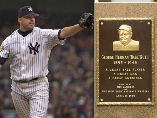 Roger Clemens used to pat Babe Ruth's plaque in Monument Park at Yankee Stadium on the way to the mound for New York.