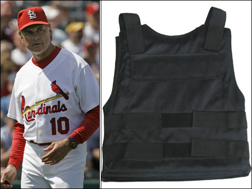 Tony La Russa wore a bulletproof vest covered by a warm-up jacket after receiving a death threat while managing the Chicago White Sox. But when his team went on a winning streak, he kept wearing the jacket.
