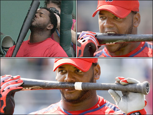 The 2007 Sox also have their share of superstitions and rituals. Outfielder Wily Mo Peña has the wackiest. In the on-deck circle, he sniffs the pine tar on the handle of his black, 35-inch model C43 Louisville Slugger. He starts at the handle and slowly moves towards the barrel. When he gets near the meat of the bat he opens his mouth and grips the bat as if he's being fitted for a mouthpiece. ''I bite it with my teeth and give it a kiss,'' he says. Now he's ready to hit.