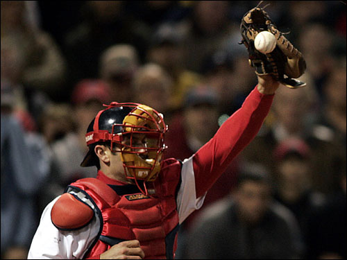 Sox captain Jason Varitek puts a baseball in his catcher's mitt and ties it tight, even if the trip is from the clubhouse to the dugout. ''I don't like my game glove getting bounced around,'' he says.