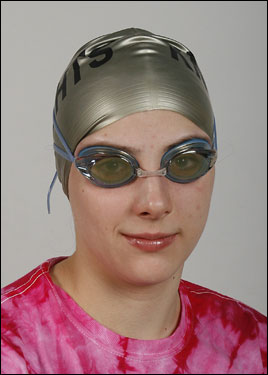 Division 1 girls' Swimmer of the Year Kirsten Kasper of North Andover poses in her cap and goggles.