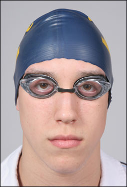 Division 1 boys' Swimmer of the Year Nicholas D'Innocenzo of Andover poses in his cap and goggles.