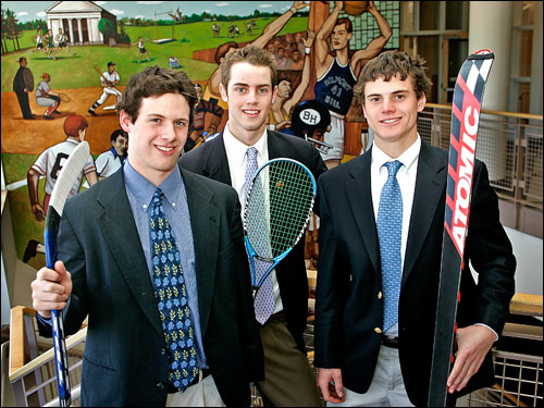 Belmont Hill standouts (left to right) Kevin McNamara (hockey), Ryan Dowd (squash), and Alex Englert (skiing) were ISL MVPs and earned All-Scholastic honors.