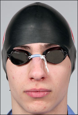 Division 2 boys' Swimmer of the Year Graham Frankel of Weston poses in his cap and goggles.