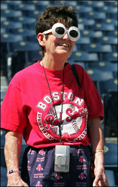 Red Sox fan JoAnn White made the trip to Kansas City from Branford, Conn., and dressed for the occasion.