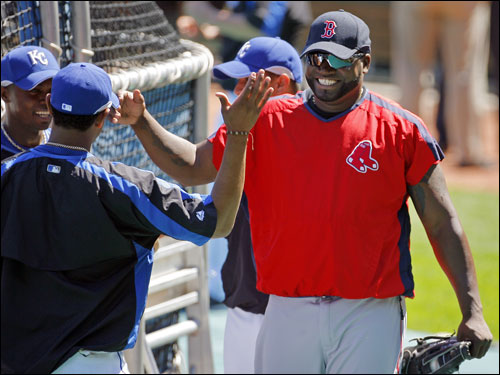 David Ortiz was all smiles as he greeted members of the Kansas City Royals during batting practice.