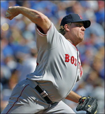 Curt Schilling threw a pitch in the first inning.
